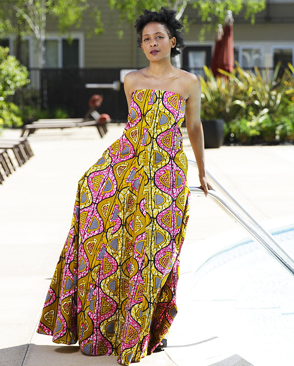 A multicolored strapless dress by Enny Ethnic
