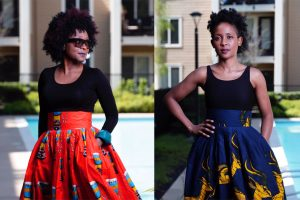 The creators of Enny Ethnic wearing skirts from their line.